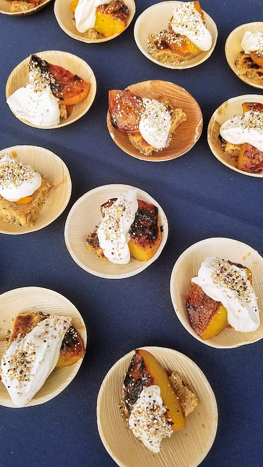 Review of Feast PDX Smoked 2017, Leather Storrs of Noble Rot in his booth created a Chewy, Hempy, Hippy Bar with Grilled Peaches & Smoked Yogurt and Scotch Whip