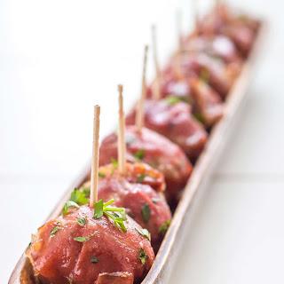 Stuffed Prosciutto Meatballs with Cranberry Glaze Recipe