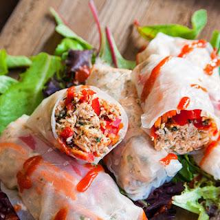 Slow Cooker Honey Sriracha Chicken Spring Rolls