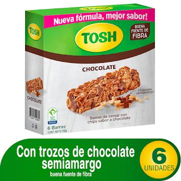 Barra de Cereal Tosh con   Chips de Chocolate Caja x 6Uni