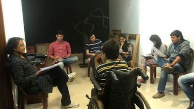 Photo: Director Ashok Singh and the Cast of Yeh Hai Duniya Meri Jaan, Kanishk, Mayanc, Anandita, Yogi and Den, rehersing the play for World Disability Day 2014.