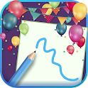 Create happy birthday greeting icon