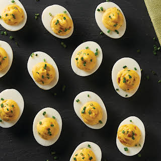 Deviled Eggs with Bacon and Horseradish.