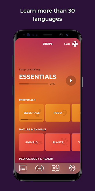 Drops: Learn 33 new languages Android App Screenshot