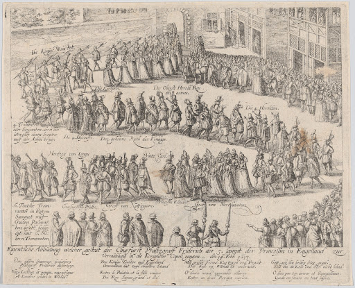 Marriage procession for the wedding of Elizabeth Stuart, daughter of James I, and Frederick V, Elector Palatine, 14 February, 1613
