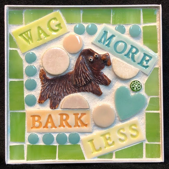 Wag More Bark Less Sussex Spaniel Mini Mosaic by Brenda Pokorny