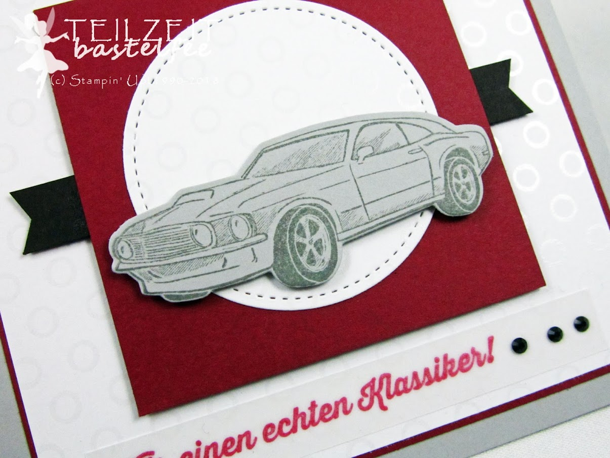 Stampin' Up! - Inkspire_me Challenge, Sketch Challenge, All Geared Up, Werkstattworte, Autos, muscle cars; male birthday card, Geburtstagskarte Mann