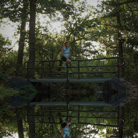 Reflecting On Life by Kathy Suttles - Digital Art Places ( reflection, resting, wmwr, relax, bridge, suttleimpressions, kelly, oklahoma )