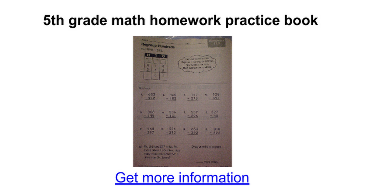 5th grade math homework practice book - Google Docs