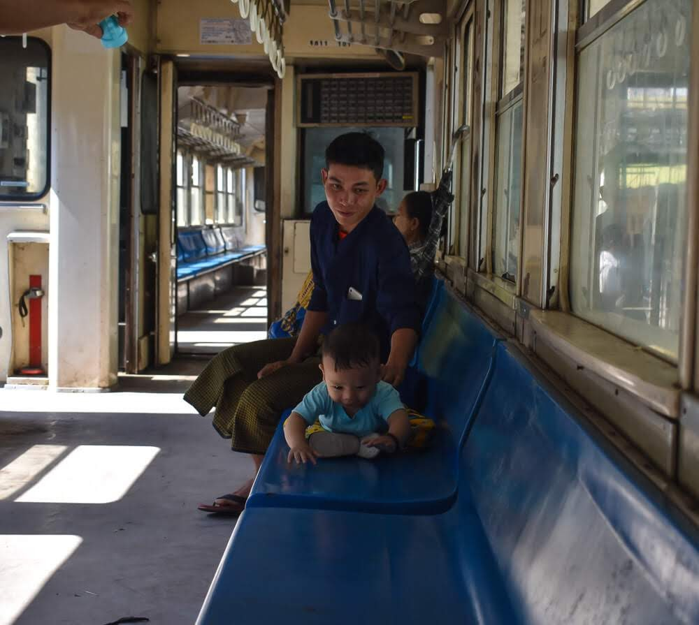 child on circular train yangon