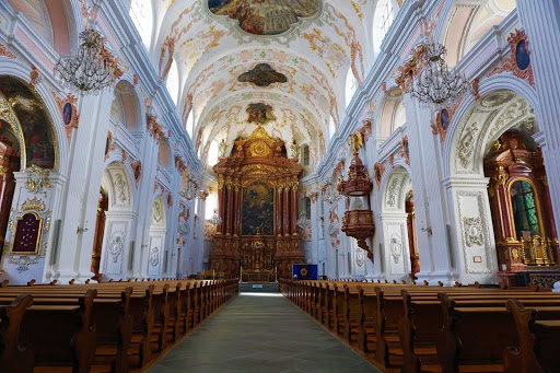 The interior of St. Paul's Cathedral in Lucerne, Switzerland, which dates to 1912.