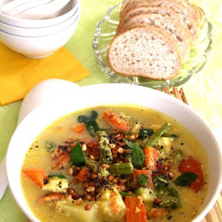 Roasted Vegetable Stew with Coconut Milk.