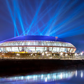 Lights On by Berril Pratama - Landscapes Starscapes ( stadion, stadionriau, architecture, ceremony, nightscape, blue, pon, ponriau, riau, stadium, opening, stadio, night, light )