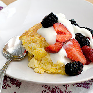 Spoon Bread with Honeyed Yogurt and Berries.