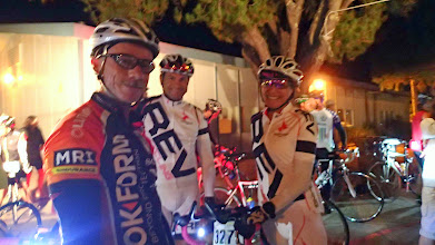 Photo: Joel Sothern (left) and Lori Hoechlin (Right) at the start.  Sorry, can't place this other dude!