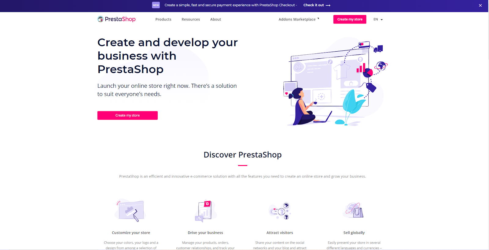 screenshot of PrestaShop homepage