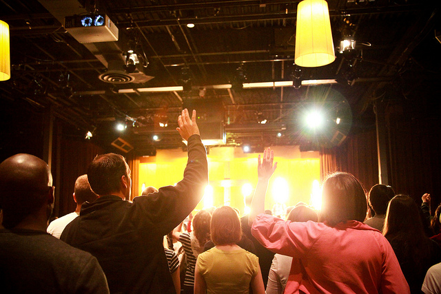 Photo: Worshiping with King's Kaleidoscope at Mars Hill Ballard during the baptisms