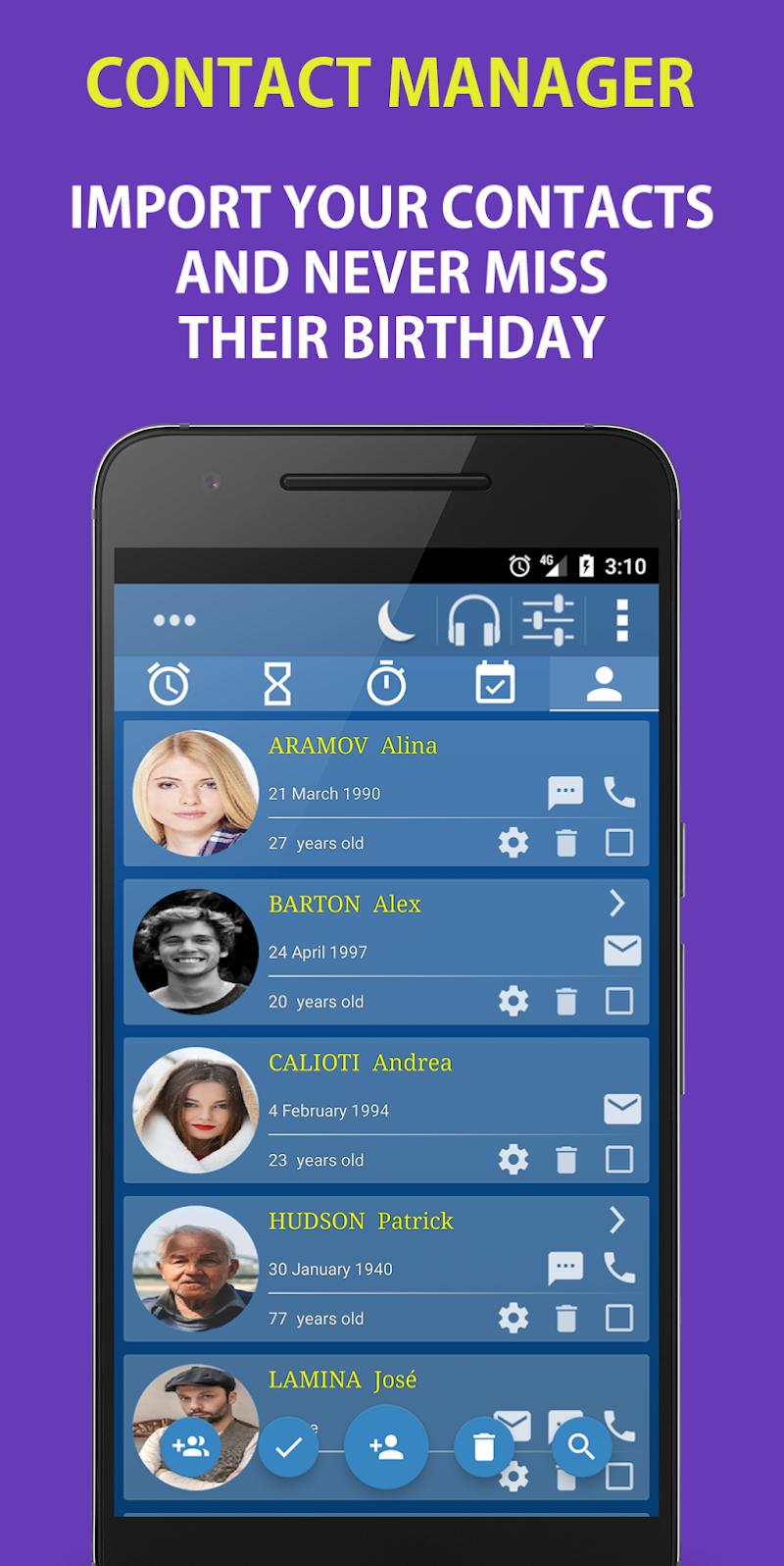 Alarm Clock & Timer & Stopwatch & Tasks & Contacts Screenshot 4