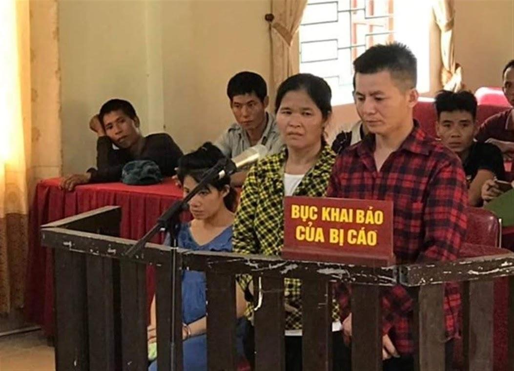 2 bị cáo Cụt Thị Hạnh và Cụt Văn Huệ tại phiên tòa