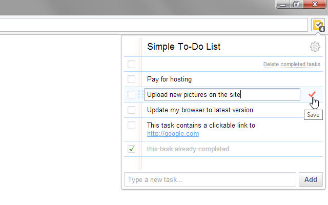 simple and minimalistic extension for task management