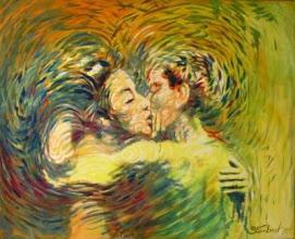 "Photo: Bruno Steinbach. ""Beijo Cósmico"". Óleo/tela, 130x161 cm, 1999, Santa Rita, Paraíba, Brasil.Coleção: Maurício Montenegro, João Pessoa-Pb."
