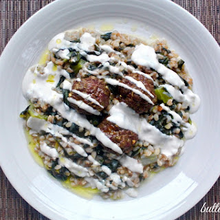 Curried Lamb Meatballs With Farro Pilaf And Raw Tahini.