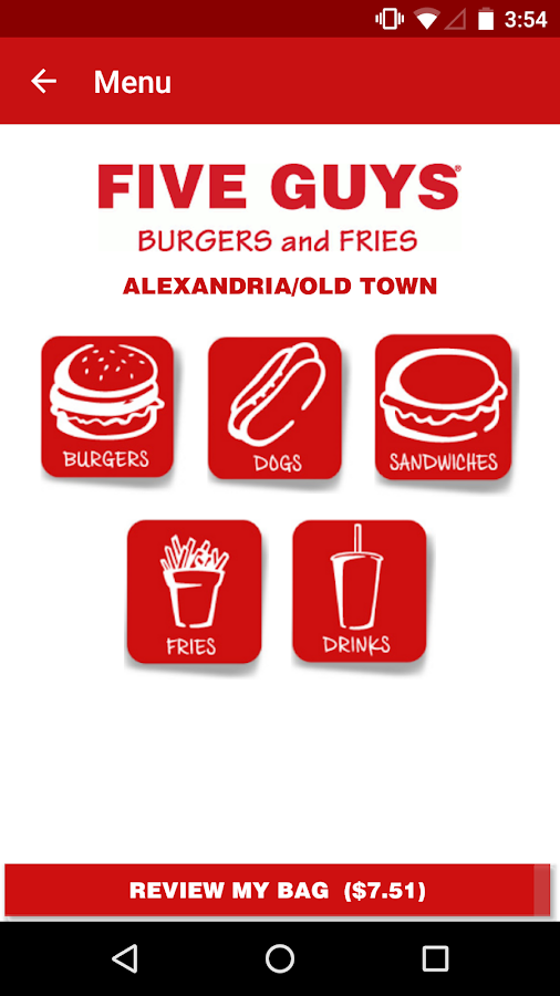 Screenshots of Five Guys Burgers & Fries for iPhone