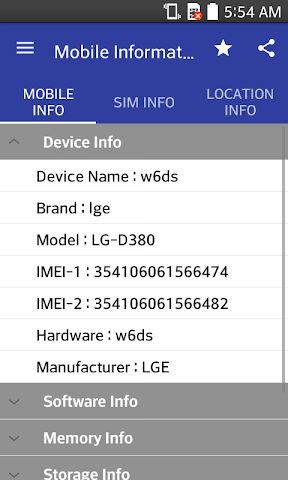 android Mobile,  SIM and Location Info Screenshot 0