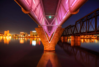 """Photo: Tempe Town Lake Monorail Bridge. This bridge has a lighting system that changes colors like a """"Christmas Tree"""". Fun to watch and capture..."""