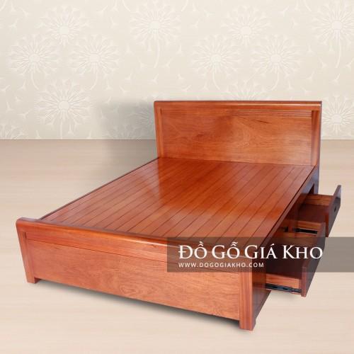 Giường ngủ gỗ Xoan đào ngăn kéo - GN141