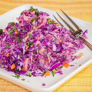 Red Cabbage & Carrot Salad with Yogurt Dressing