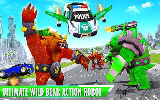 Bear Robot Car Transform: Flying Car Robot War modavailable screenshots 5