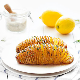 Baked Hasselback Potatoes.