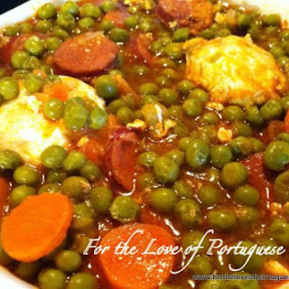 Stewed Peas with Poached Eggs.