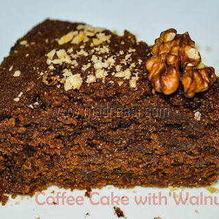 Wheat Coffee Cake with Walnuts (Eggless, Milkless, Butterless).