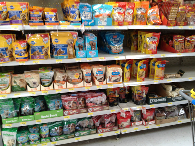Photo: We headed over to the dog treat aisle to find some goodies to donate to our animal shelter.