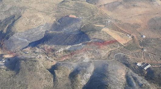 Controlado el incendio en Bentarique, que ha calcinado 7 hectáreas de matorral