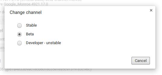 Chrome OS: atualizações e canais