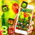 Cute Love Bird 3D Glass Tech Theme 🦜 icon