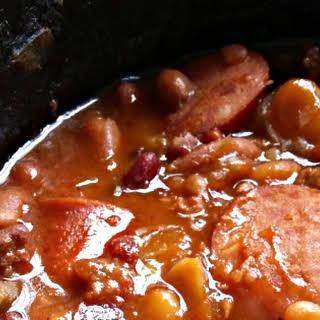 Three Meat Crock Pot Cowboy Beans.