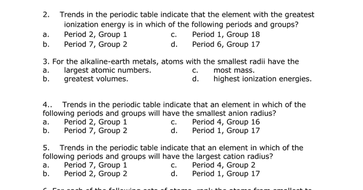 Periodic table periodic trends review 2 google docs urtaz Gallery