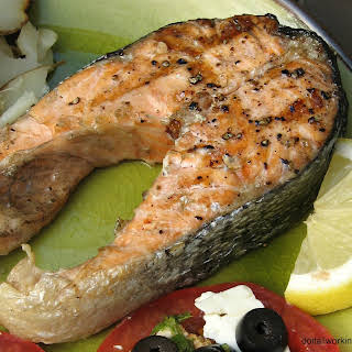 Salmon Steak on the Grill.