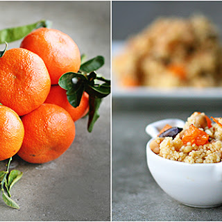 Recipe for Tangerine Couscous with garbanzos and olives.