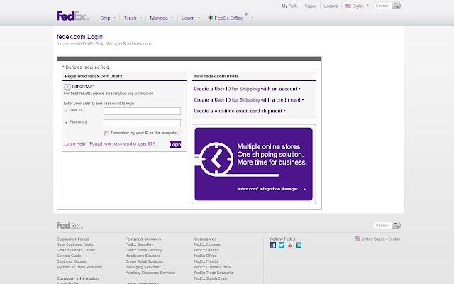 Open Fedex Page