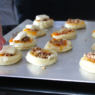 Puff Pastry Tarts with Apricot, Pecan, and Brie