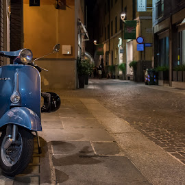 Vespa by Tomasz Karasek - City,  Street & Park  Street Scenes ( street, night, vespa, parma, italy, bike )
