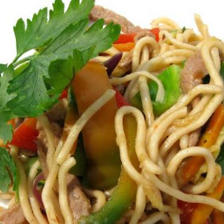 Vegetable and Veal Chinese Noodles.