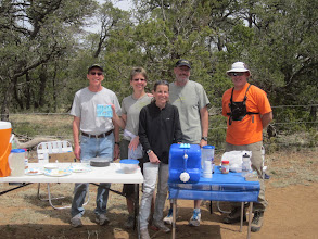 Photo: Four Corners aid station volunteers. Notice the peeps on the water jug ;-)