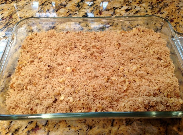 Sprinkle brown sugar and nuts evenly on batter and pat down lightly.  Drizzle...