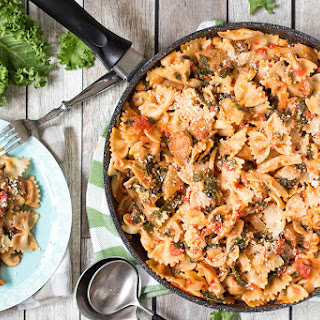 Sausage and Kale Pasta with Mushrooms.